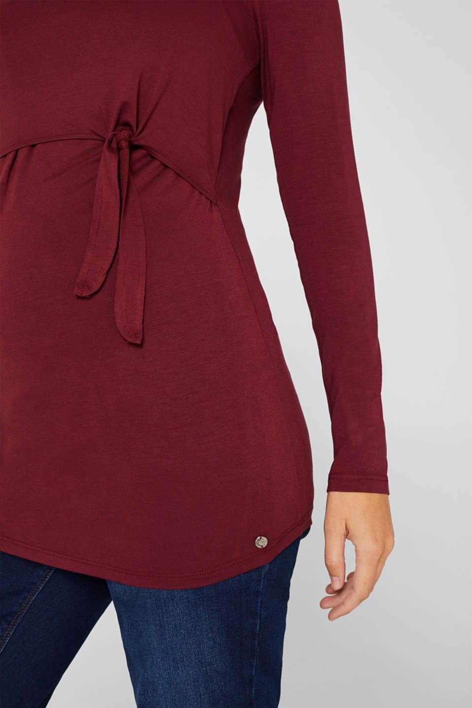 Stretch long sleeve nursing top, LCGARNET RED, detail image number 2