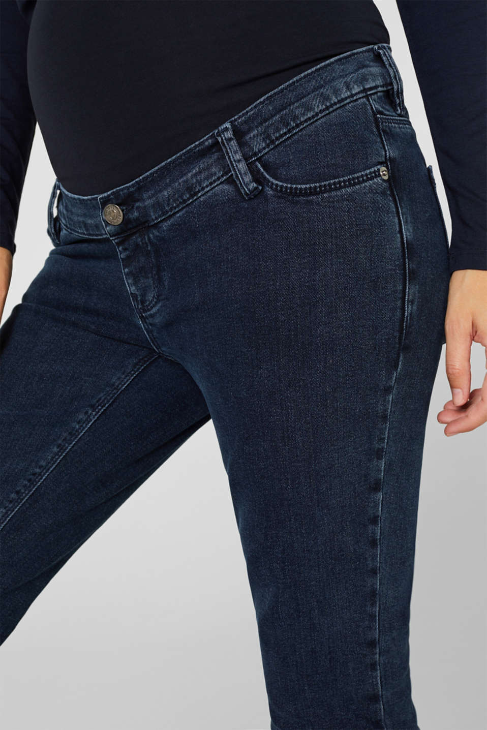 Stretch jeans with an over-bump waistband, LCDARKWASH, detail image number 5