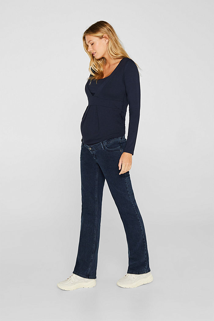 Stretch jeans with an over-bump waistband, BLUE DARK WASHED, detail image number 0