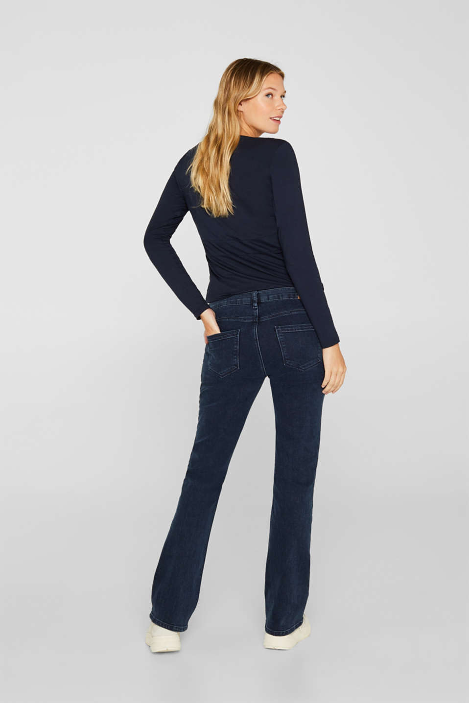 Stretch jeans with an over-bump waistband, LCDARKWASH, detail image number 2