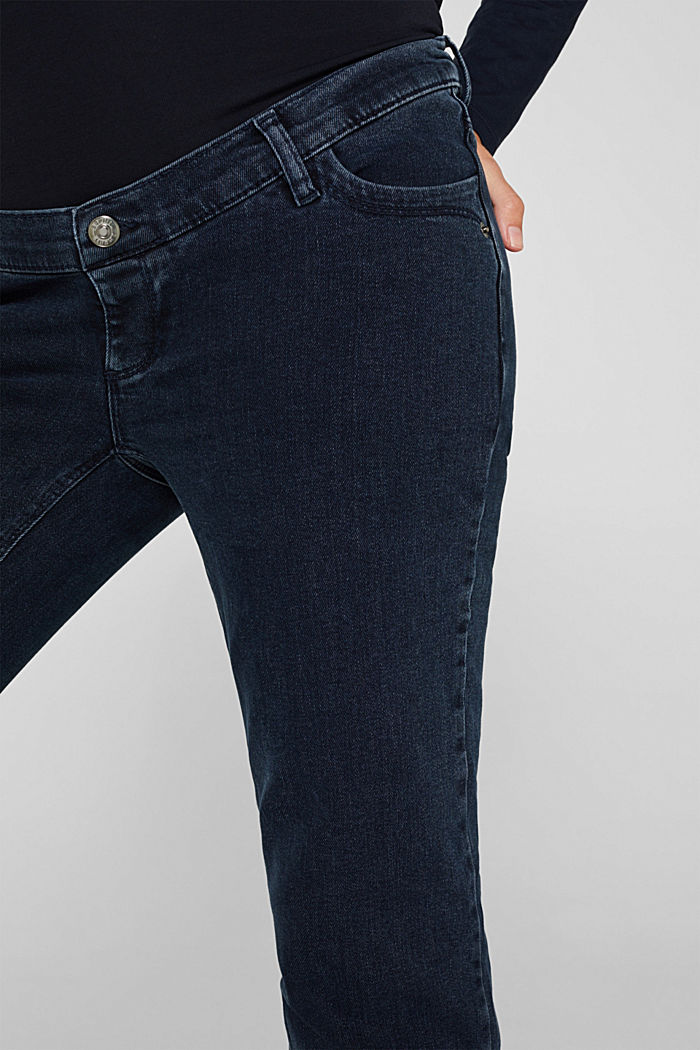 Stretch-Jeans mit Überbauchbund, BLUE DARK WASHED, detail image number 0