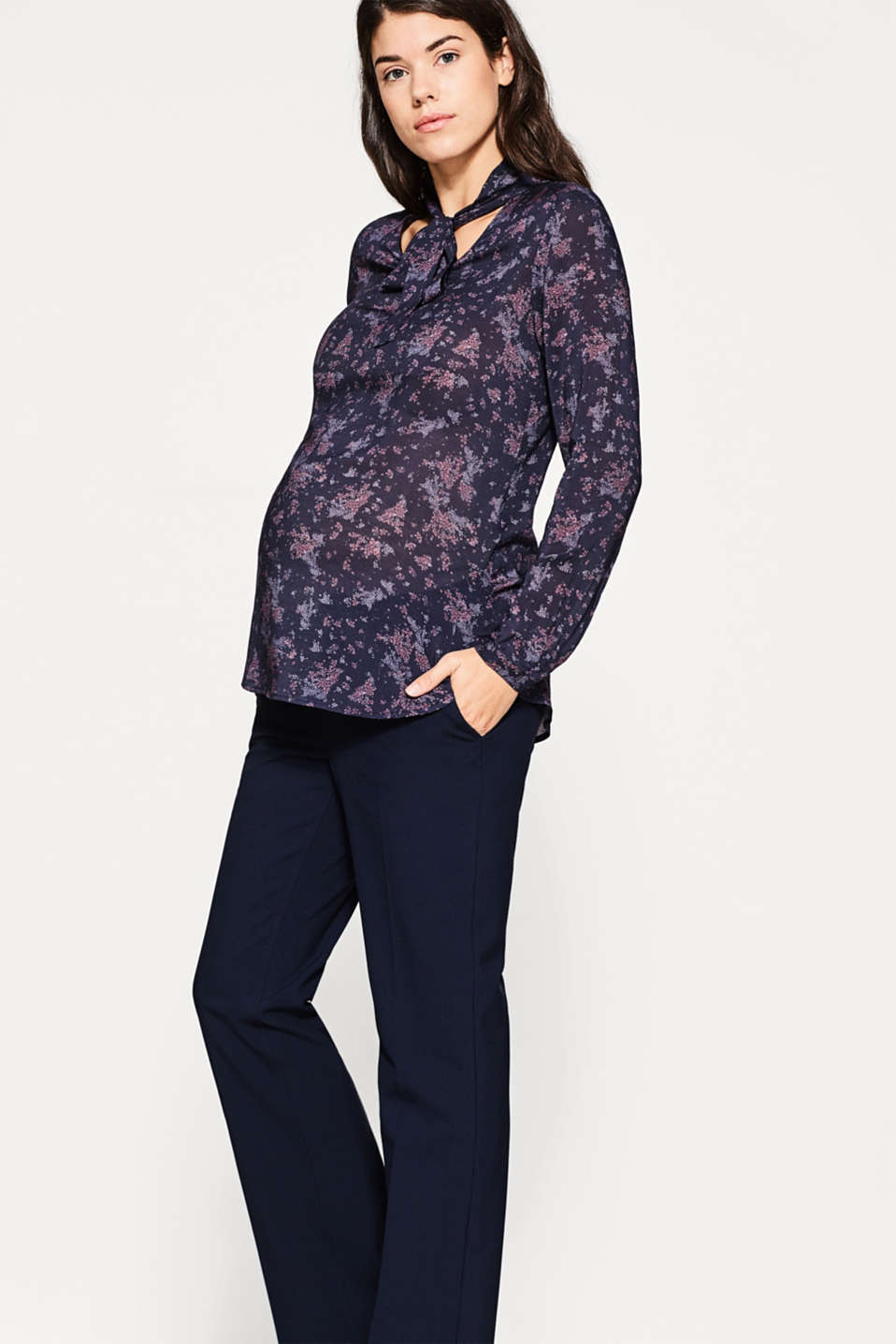 Esprit - Fancy stretch trousers, under-bump waist