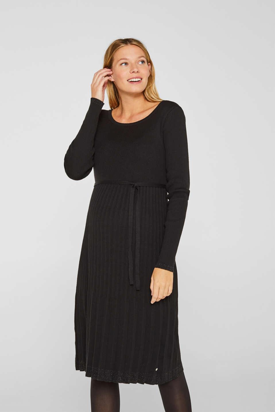 Glittering pleated knit dress, LCBLACK, detail image number 0