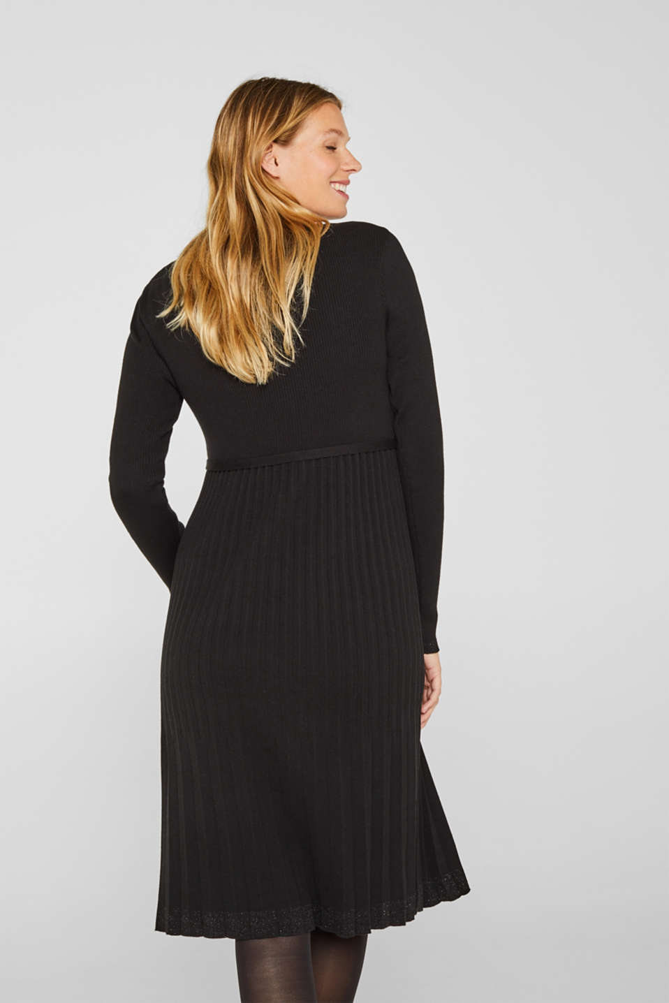 Glittering pleated knit dress, LCBLACK, detail image number 2