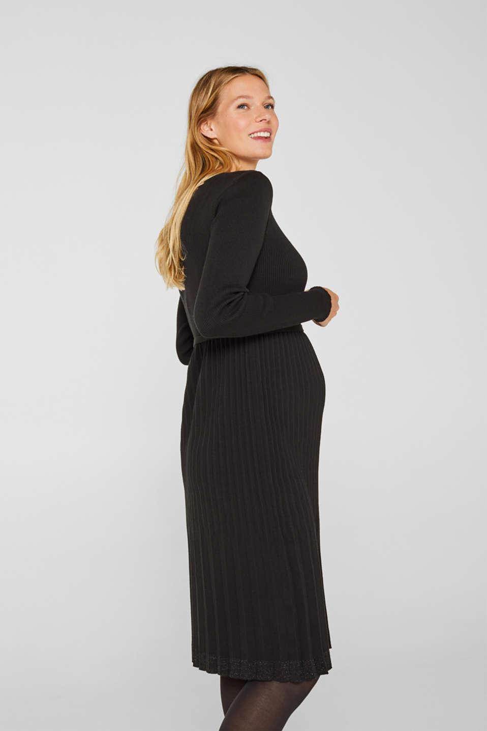 Glittering pleated knit dress, LCBLACK, detail image number 5