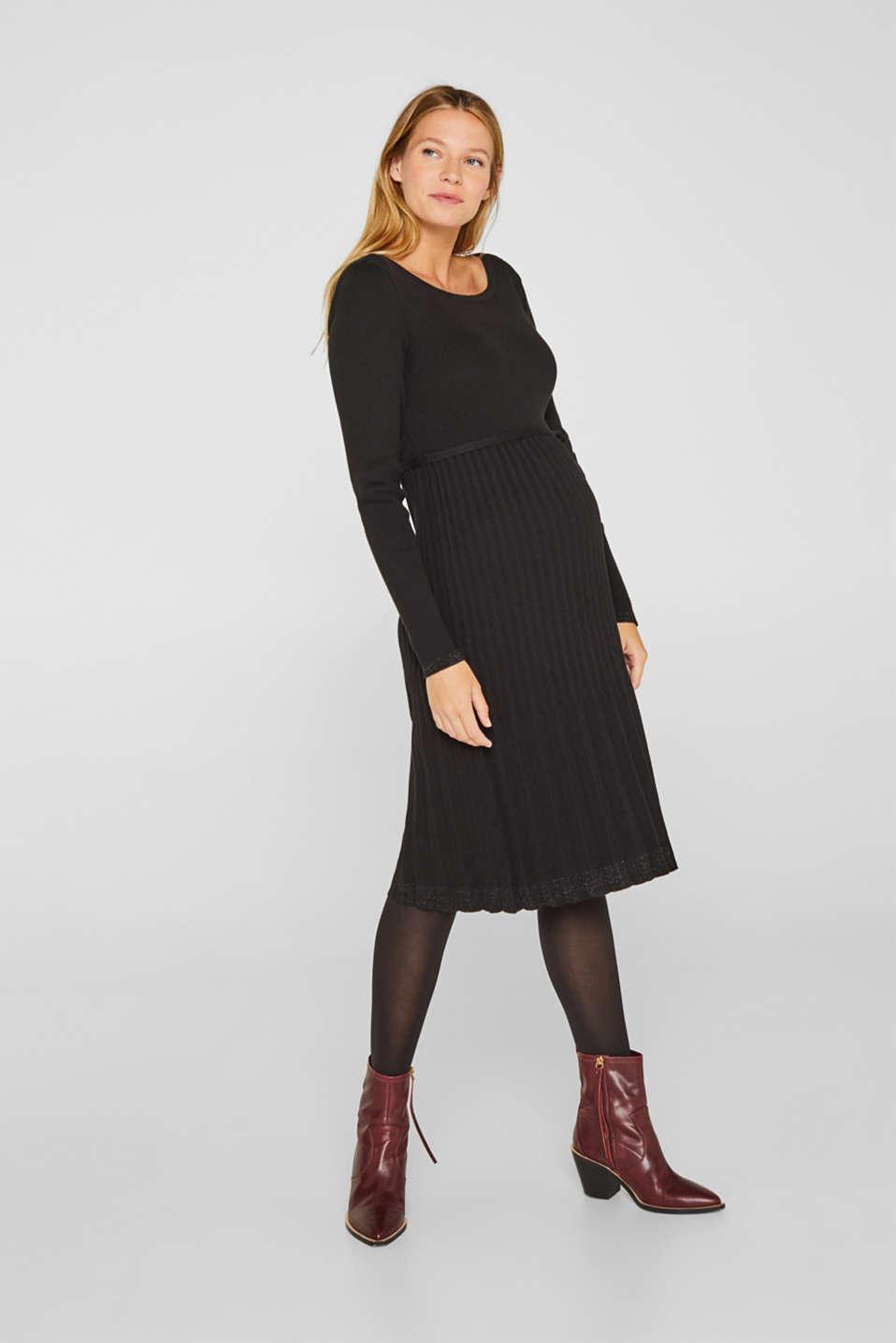 Glittering pleated knit dress, LCBLACK, detail image number 1