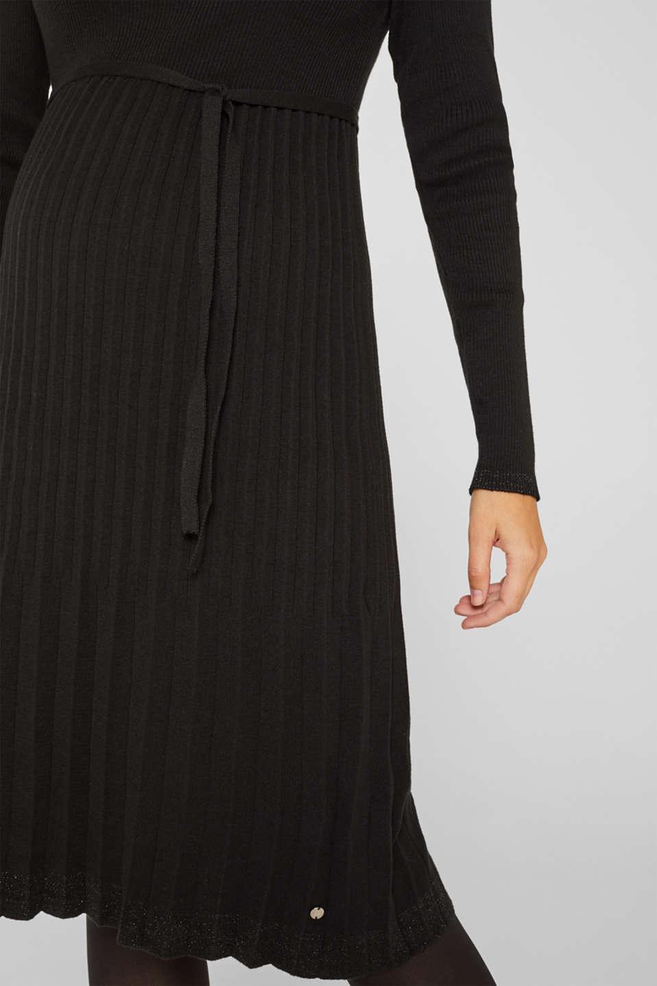 Glittering pleated knit dress, LCBLACK, detail image number 3