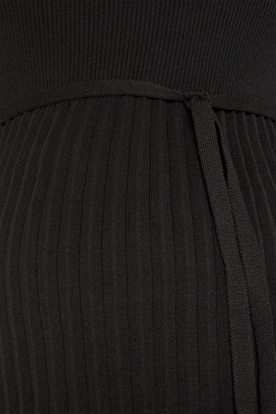 Glittering pleated knit dress, LCBLACK, detail image number 4