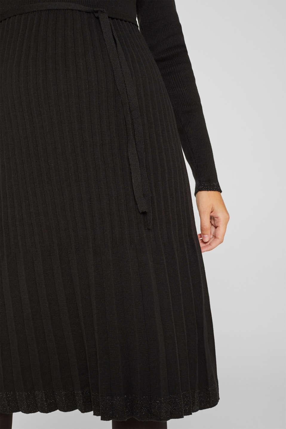 Glittering pleated knit dress, LCBLACK, detail image number 6