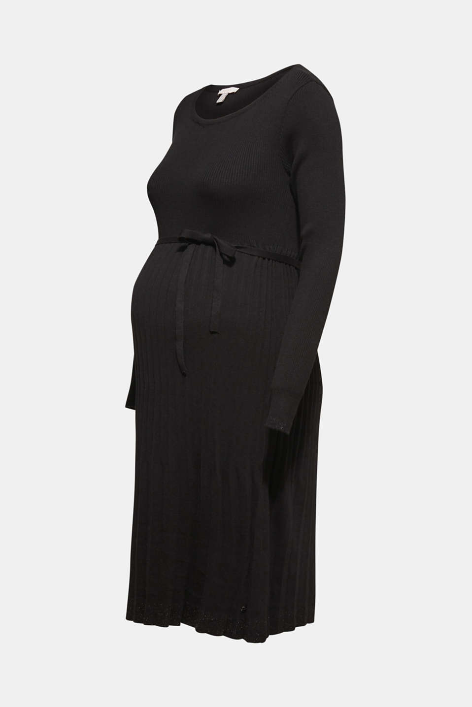 Glittering pleated knit dress, LCBLACK, detail image number 7