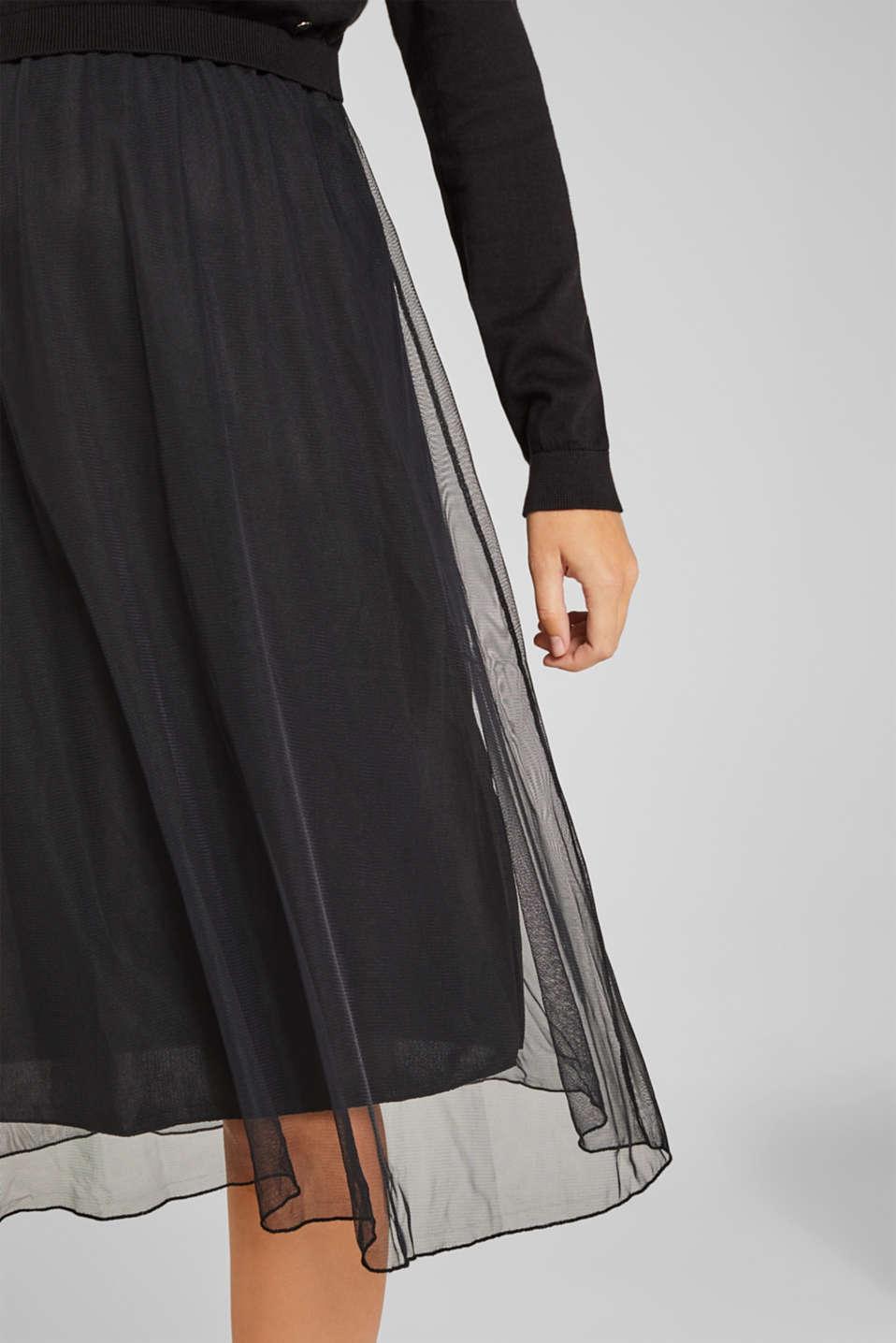 Mixed material nursing dress, LCBLACK, detail image number 3