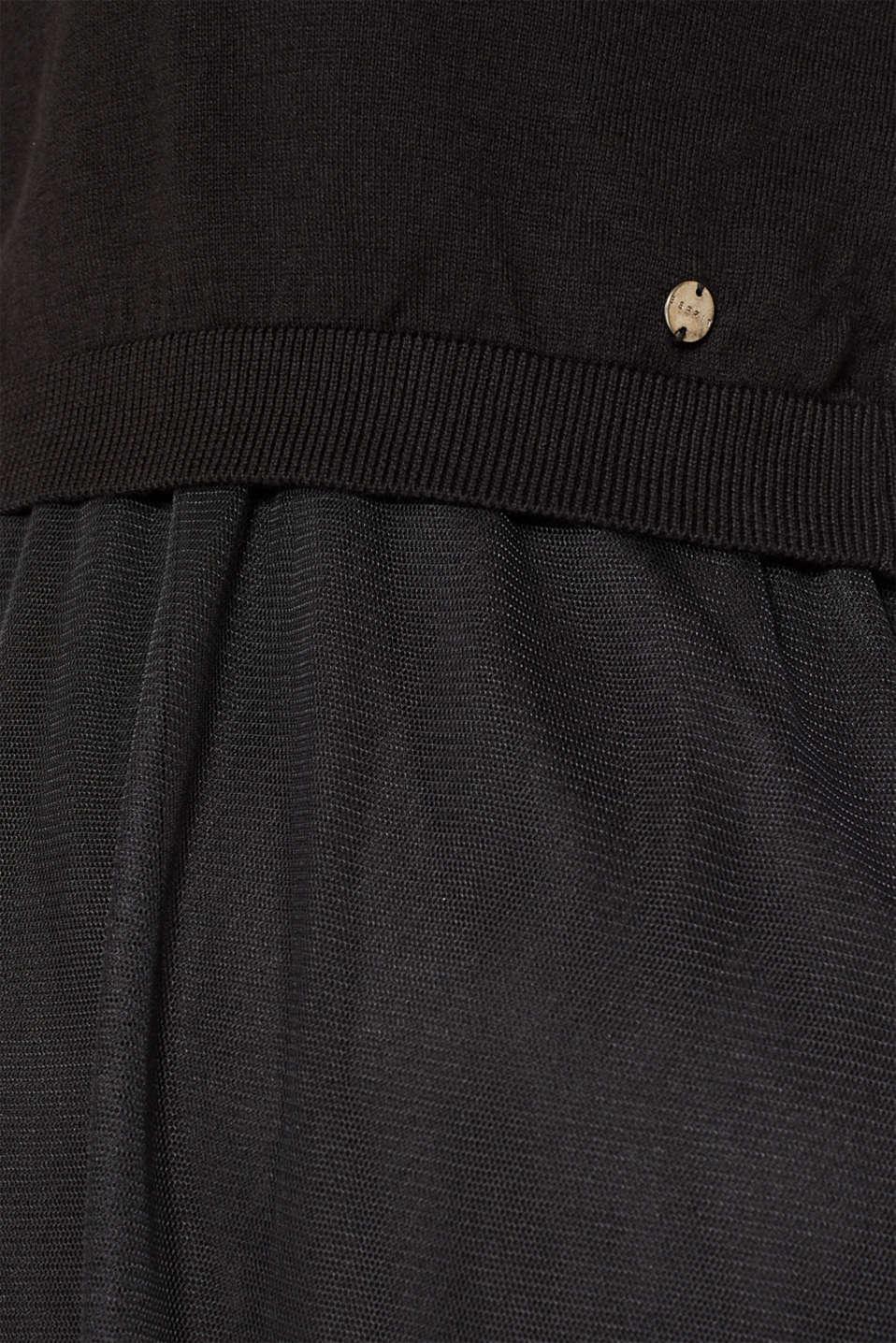 Mixed material nursing dress, LCBLACK, detail image number 4