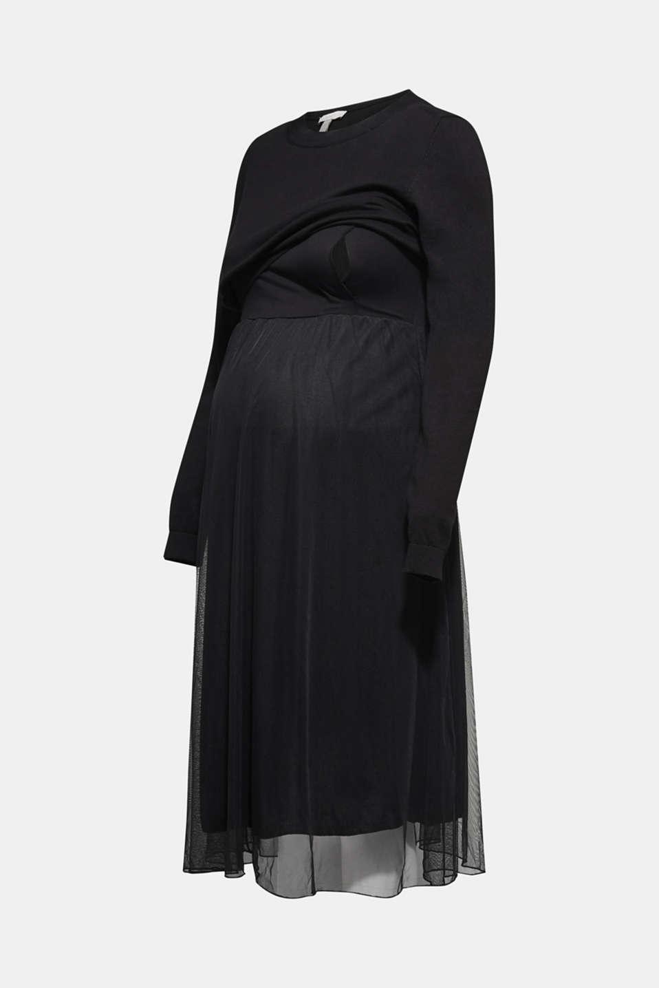 Mixed material nursing dress, LCBLACK, detail image number 5