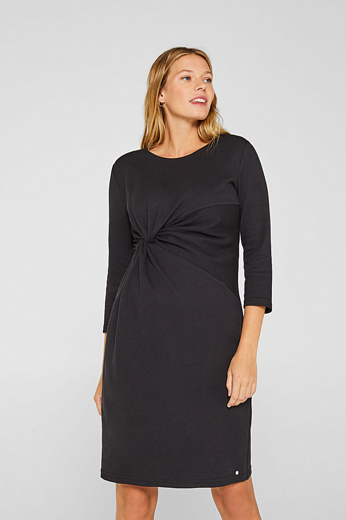 Drapiertes Jersey-Stretch-Kleid, BLACK, detail image number 0