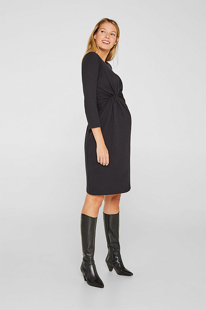Drapiertes Jersey-Stretch-Kleid, BLACK, detail image number 1