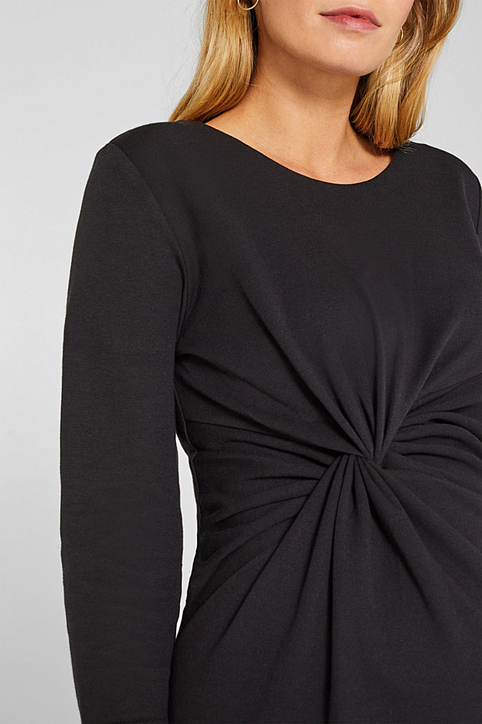 Drapiertes Jersey-Stretch-Kleid, BLACK, detail image number 3
