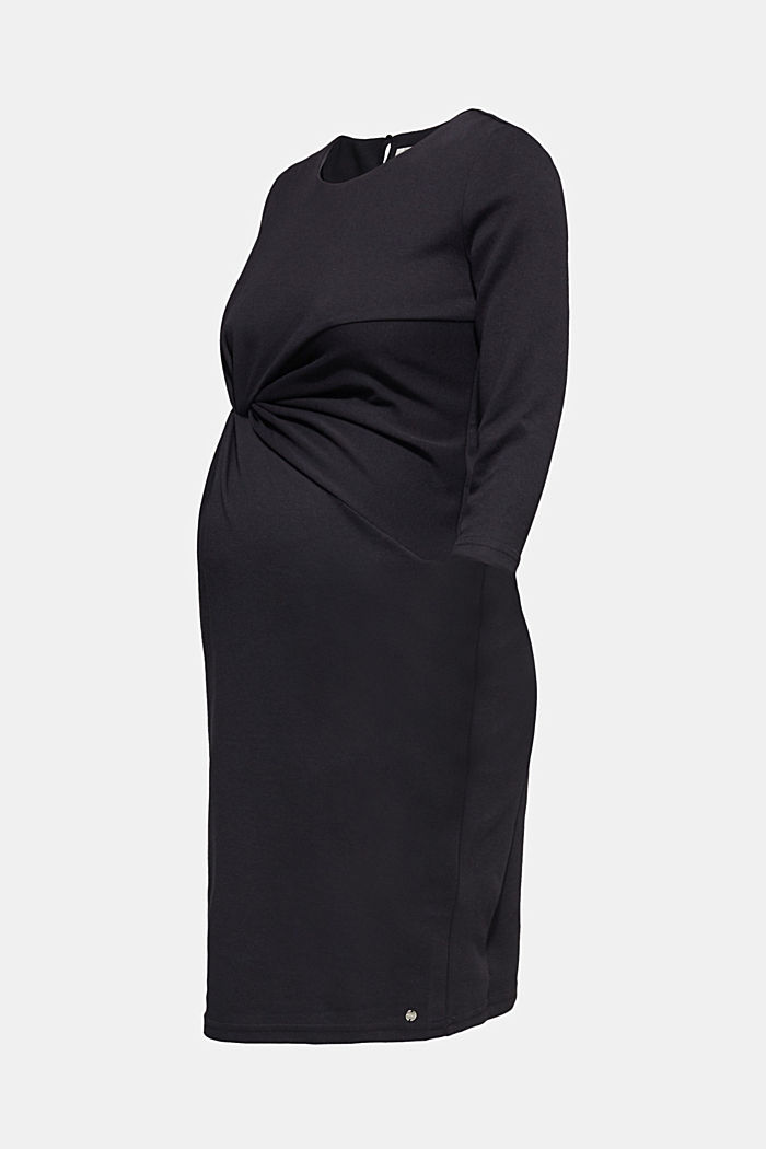 Draped stretch jersey dress, BLACK, detail image number 0