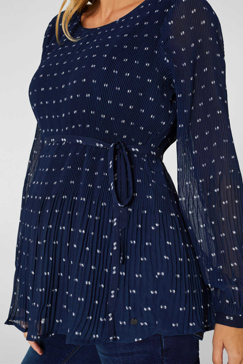 Pleated print blouse, LCNIGHT BLUE, detail image number 2