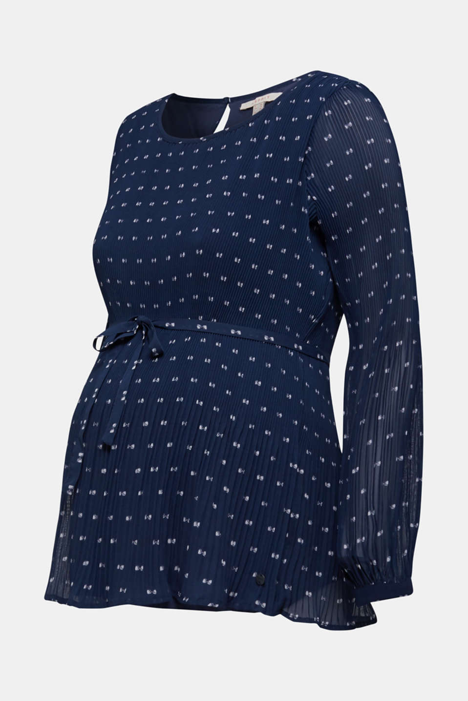 Pleated print blouse, LCNIGHT BLUE, detail image number 5