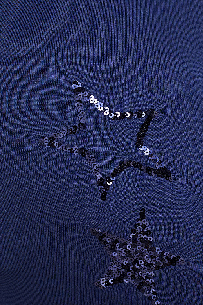 Sequin star detail jumper, NAVY, detail image number 4