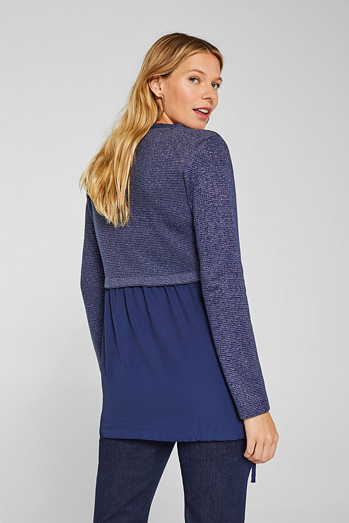 Layered long sleeve top with a glitter effect, NAVY, detail image number 3