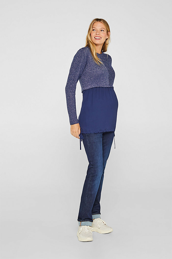 Layered long sleeve top with a glitter effect, NAVY, detail image number 1