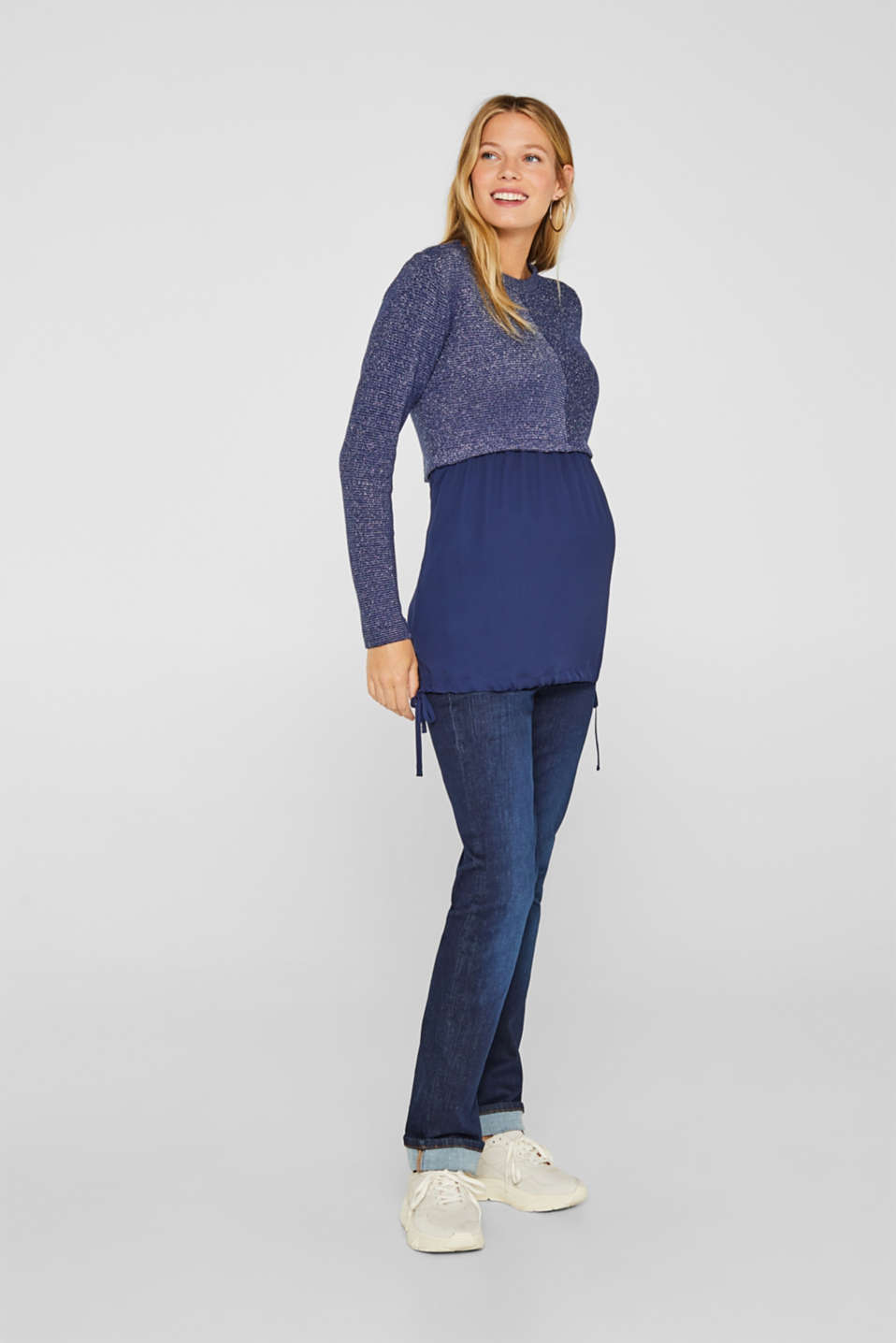 Layered long sleeve top with a glitter effect, LCNAVY, detail image number 1