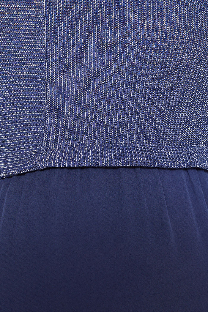 Layered long sleeve top with a glitter effect, NAVY, detail image number 4