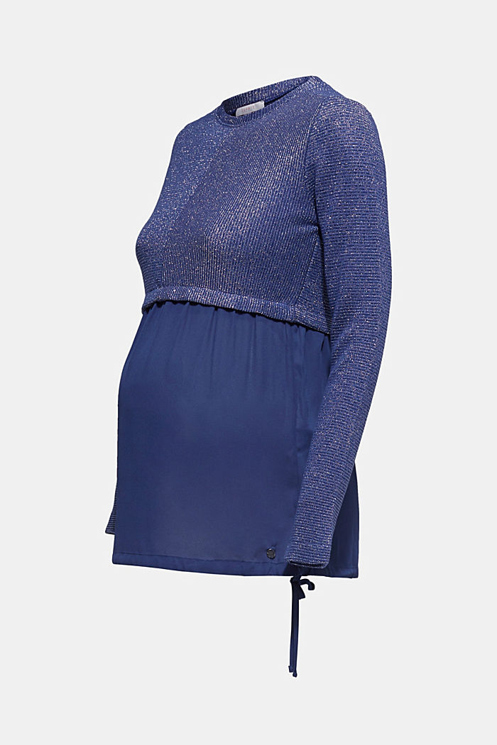 Layered long sleeve top with a glitter effect, NAVY, detail image number 5
