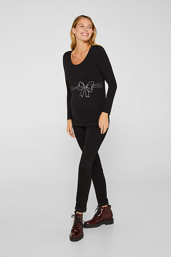Stretch-Longsleeve mit Glitter-Print, BLACK, detail image number 1