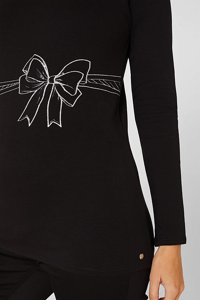 Stretch-Longsleeve mit Glitter-Print, BLACK, detail image number 2