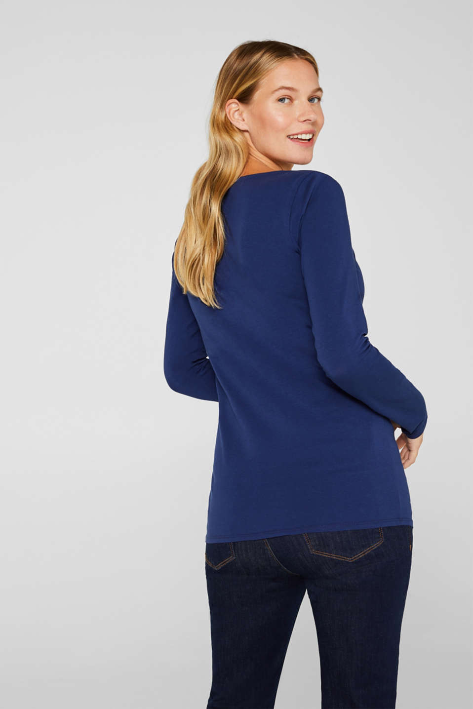 Stretch long sleeve top with shimmer and glitter, LCNAVY, detail image number 3