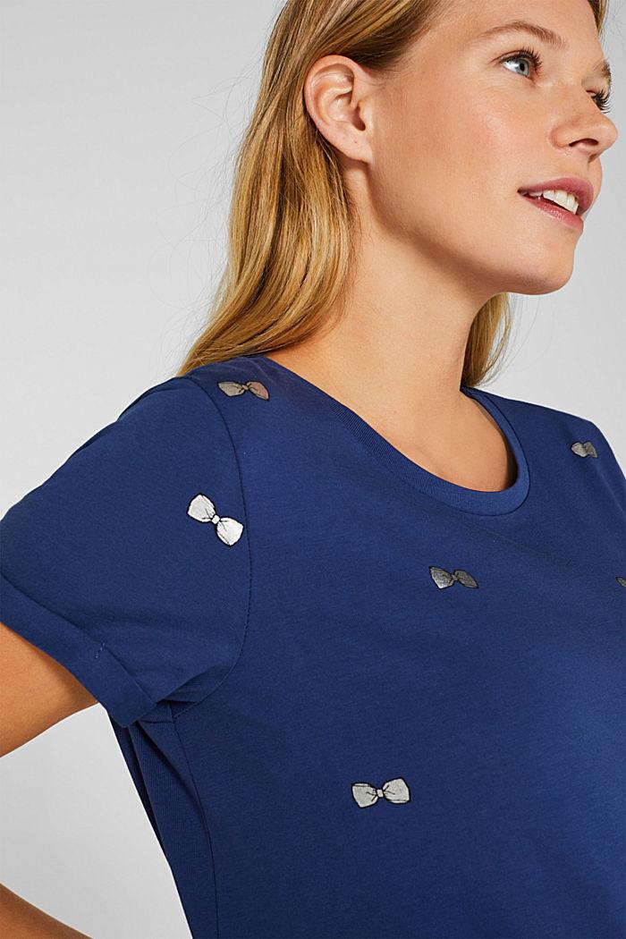 T-Shirt mit Glanz-Print, 100% Baumwolle, NAVY, detail image number 2