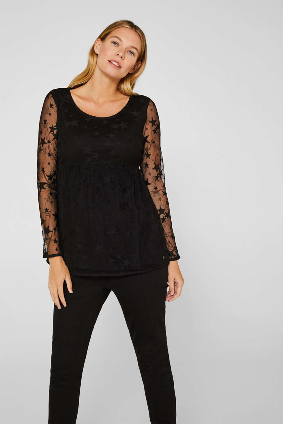 Esprit - Mesh long sleeve top with an empire line