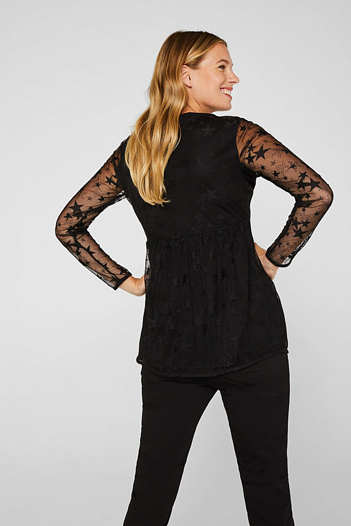 Mesh long sleeve top with an empire line, BLACK, detail image number 3
