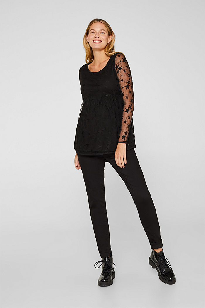 Mesh long sleeve top with an empire line, BLACK, detail image number 6