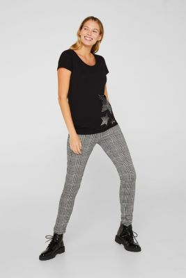 Stretch top with a shiny print, LCBLACK, detail