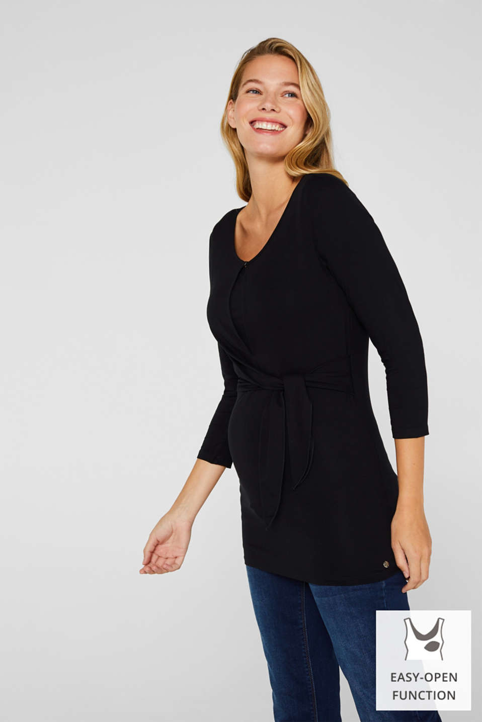 Nursing top with knot detail, LCBLACK, detail image number 0