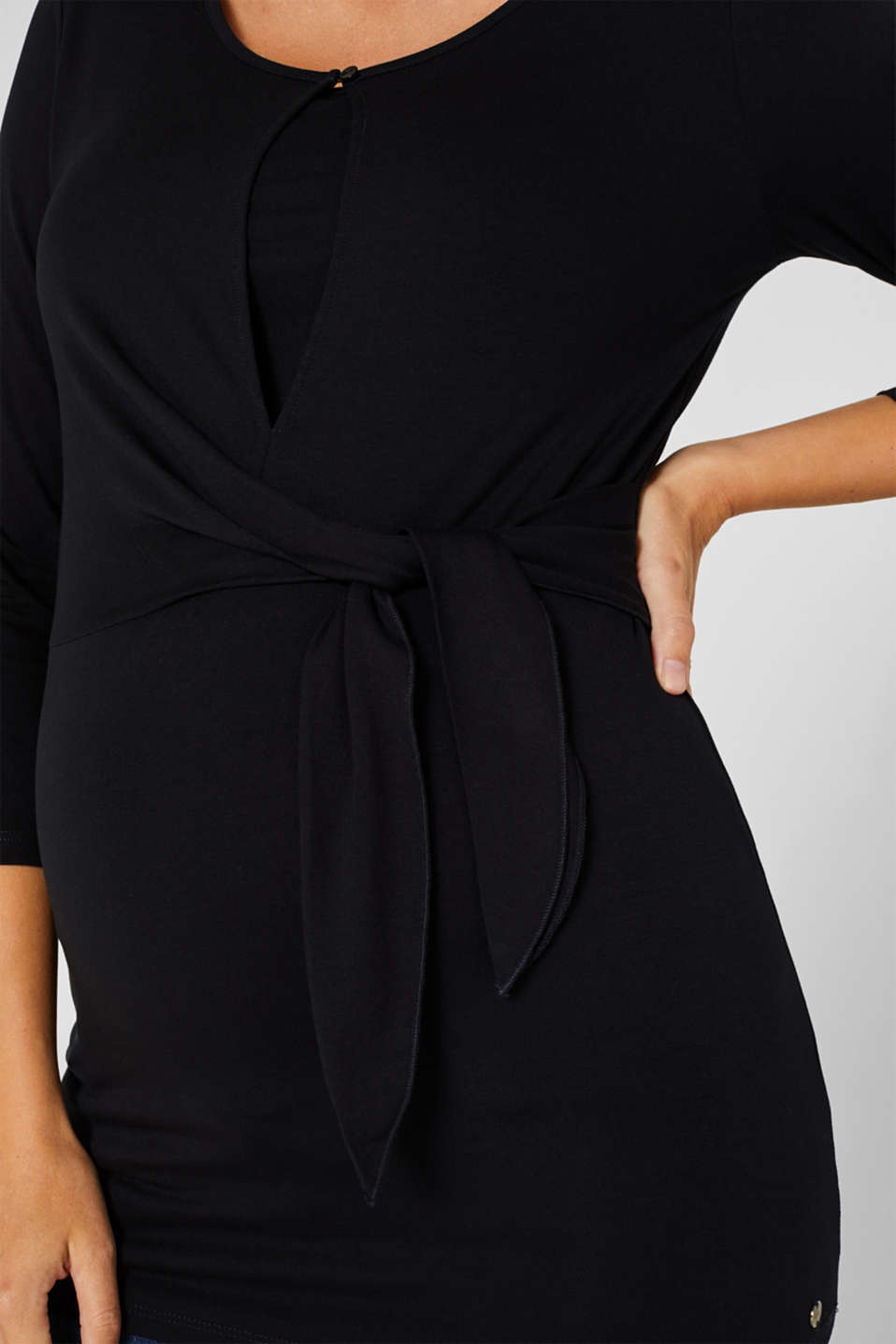 Nursing top with knot detail, LCBLACK, detail image number 2