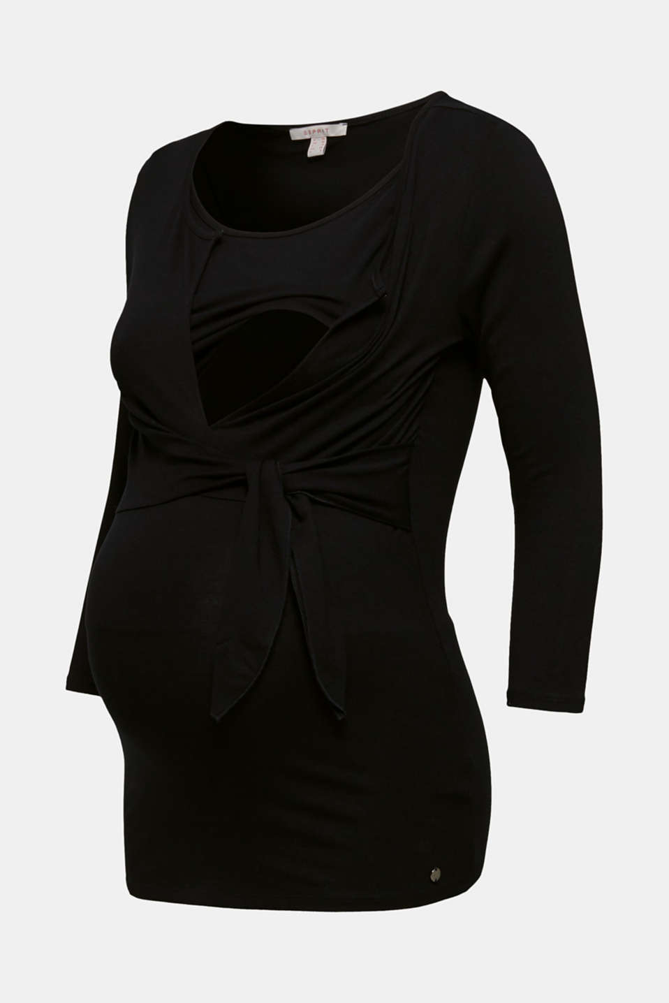 Nursing top with knot detail, LCBLACK, detail image number 5